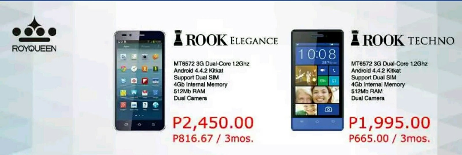 Royqueen Rook Elegance and Techno budget smartphones announced