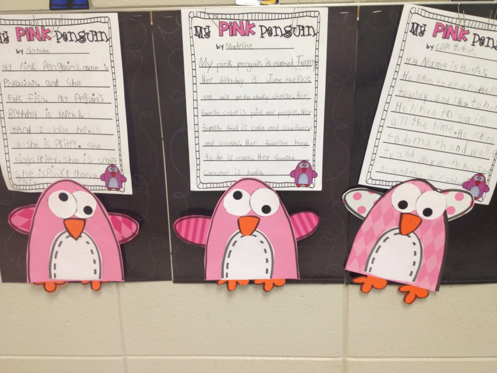 First Grader Last Pink Penguin Craftivity