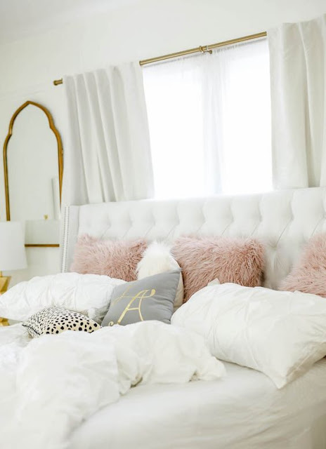 A Blush Grey Amp Metallic Bedroom Makeover The