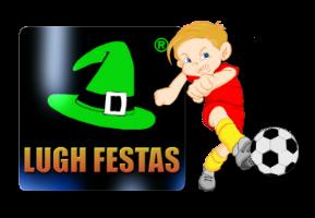 Logo Lugh Festas com jogador de futebol