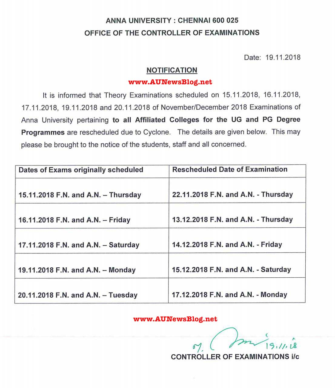Anna University Nov Dec 2018 Exams Postponed & Rescheduled