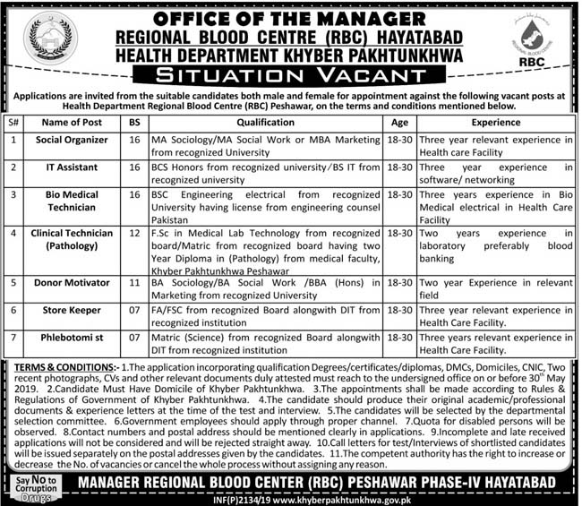 Health Related Jobs in Regional Blood Centre (RBC) KPK MAY 2019