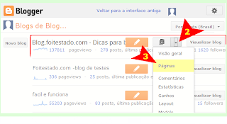 organizar menus de blogs do blogger com interface atualizada