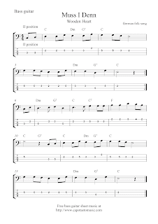 free bass guitar tab sheet music muss i denn wooden heart. Black Bedroom Furniture Sets. Home Design Ideas