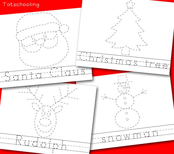 Number Names Worksheets tracing pictures : Christmas Picture & Word Tracing Printables | Totschooling ...