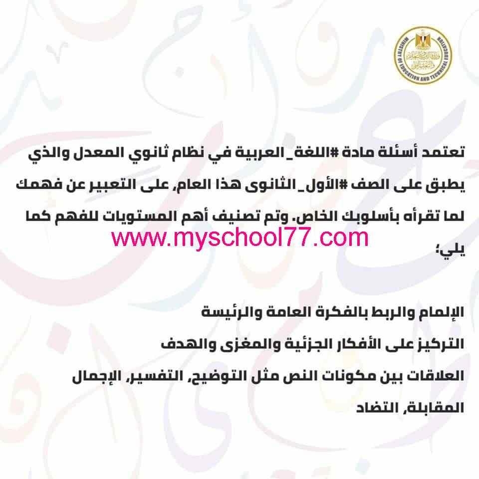 امتحان الوزارة الاسترشادى لغة عربية للصف الأول الثانوي ترم ثانى 2019