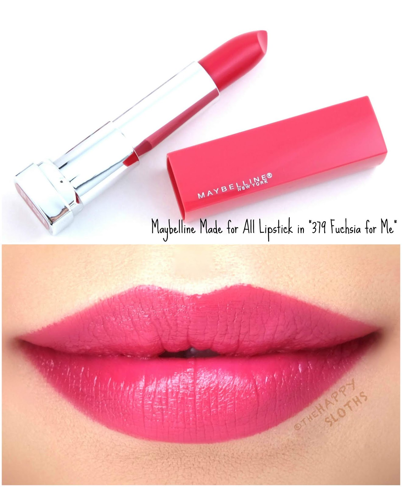 "Maybelline | Made for All Lipstick by Color Sensational in ""379 Fuchsia for Me"": Review and Swatches"