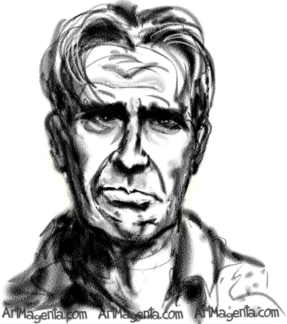 Harrison Ford caricature cartoon. Portrait drawing by caricaturist Artmagenta