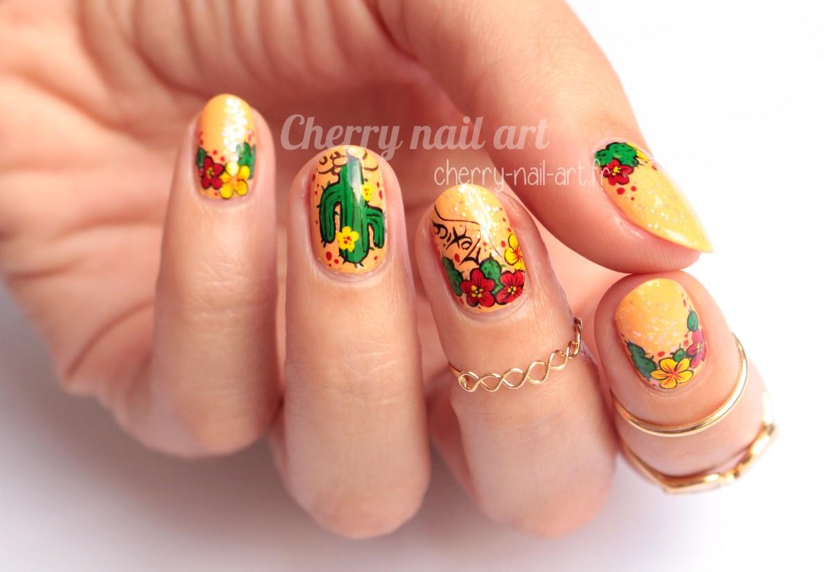 nail-art-cactus-fleur-été