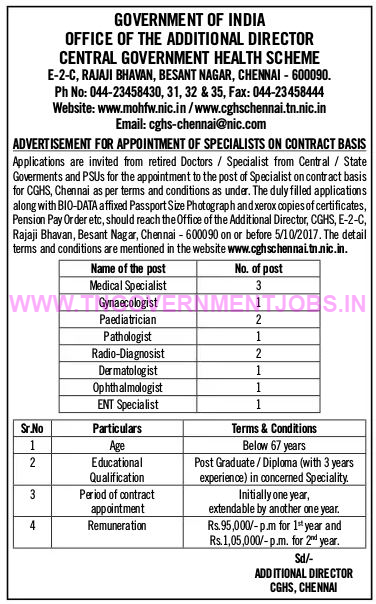 cghs-chennai-recruitment-of-doctors-on-contract-basis-www-tngovernmentjobs-in