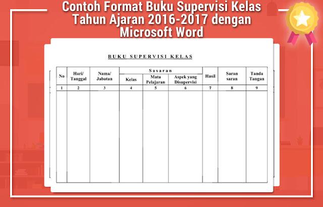 Contoh Format Buku Supervisi Kelas Tahun Ajaran 2016-2017 dengan Microsoft Word