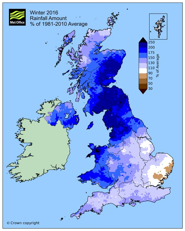 Winter 2016: rainfall amount % of 1981-2010 average