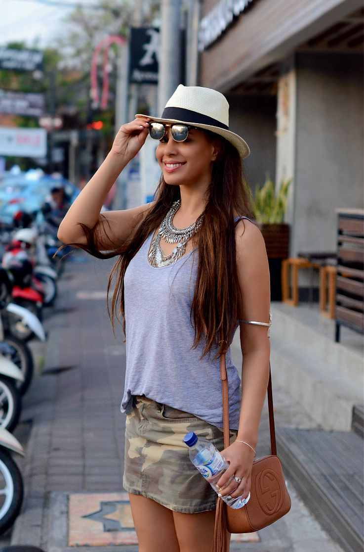 Tamara Chloé,Gucci Soho Disco bag, Coin necklace, Camo skirt, Panama hat, Bali, Indonesia, Seminyak