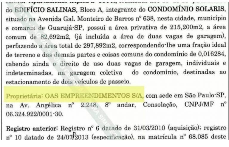 Defesa de Lula apresenta registro de tríplex em nome da OAS
