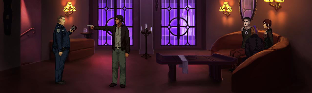 El protagonista encañona a un policía.