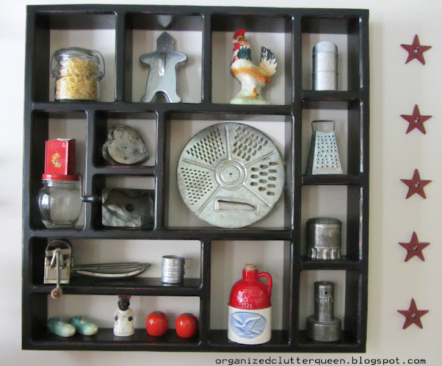 Red Kitchen Shadow Box Painted Black Organized Clutter
