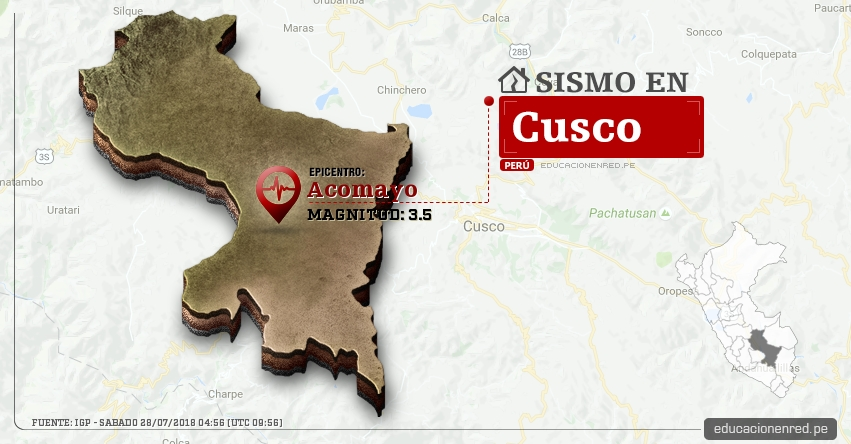 Temblor en Cusco de magnitud 3.5 (Hoy Sábado 28 Julio 2018) Sismo EPICENTRO Acomayo - IGP - www.igp.gob.pe