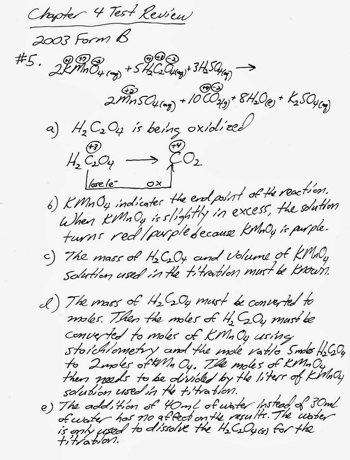 Chemistry exam - Homework Sample