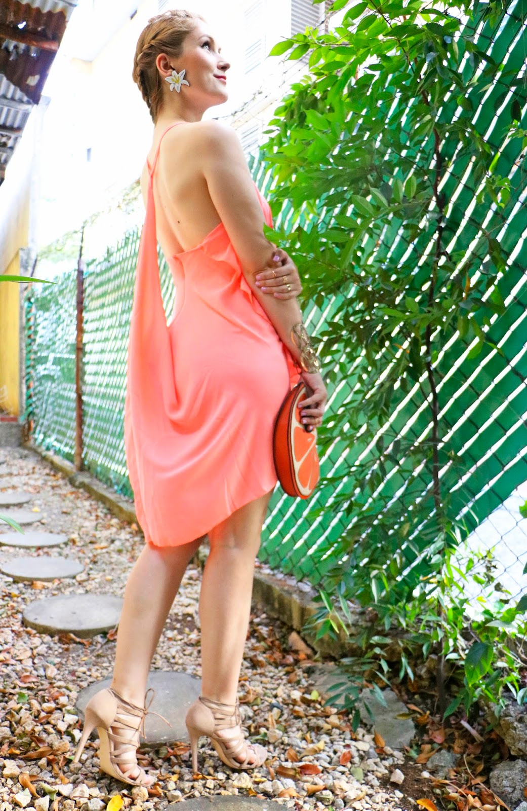 Summer Orange dress Outfit