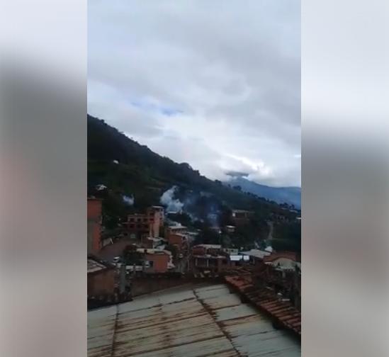 Vista de la gasificación policial cerca del colegio de La Calzada / RRSS