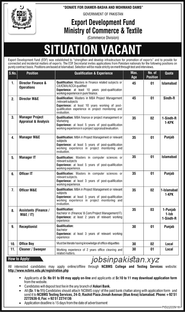 Advertisement for Ministry of Commerce and Textile Jobs 2018