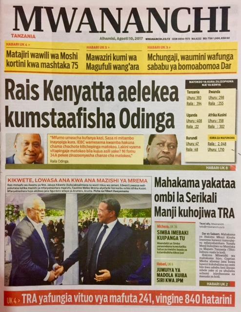HAYA HAPA MAGAZETI YA LEO ALHAMIS AGOSTI 10,2017 - NDANI NA NJE YA TANZANIA