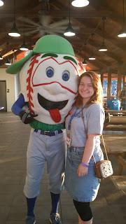 Lexington Legends mascot with GUK Summer Academy student, Taylor Russell