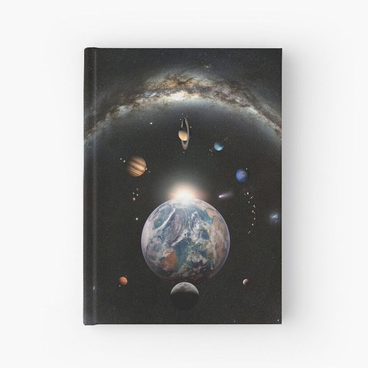 Sunrise on Earth, Planets and Milky Way Ring Hardcover Journal