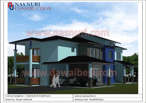 interior designer Pelan Banglo 2 Tingkat. 5 Bilik Tidur & 3 Bilik Air
