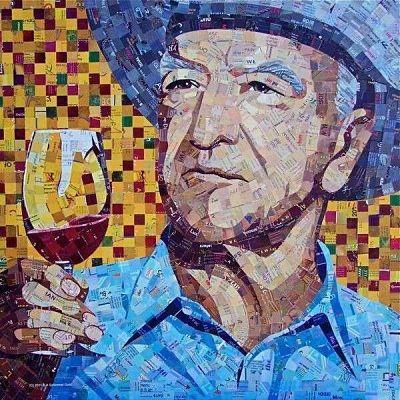 Póster hecho con imágenes recortadas de revistas viejas. El diseño muestra la figura de un hombre con una copa de vino en la mano