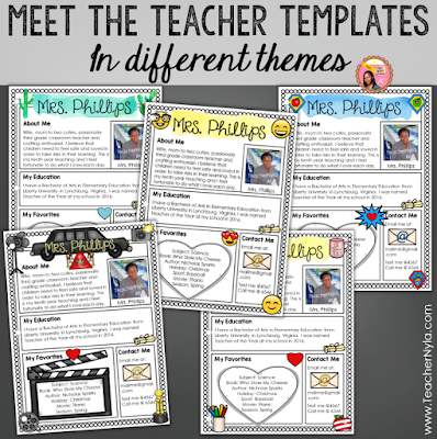 Meet the Teacher Templates - Editable in different themes