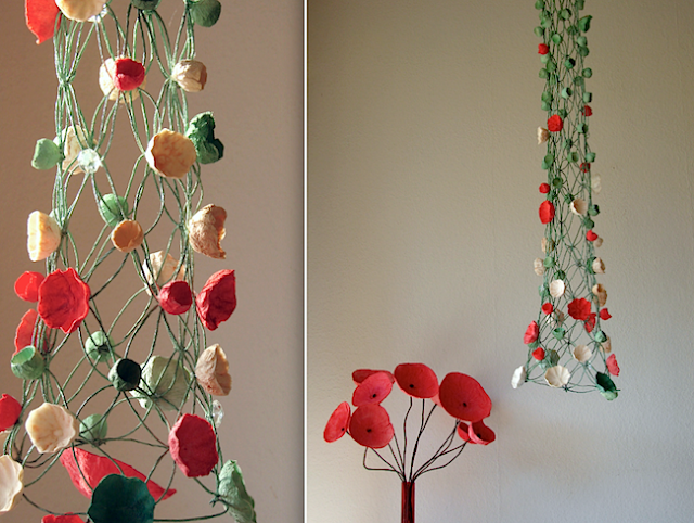 Giant paper flowers windows display, allestimenti vetrine a tema con fiori di carta