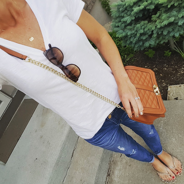 Merona Vintage Vee Tee - some colors on sale for only $5 (reg $9)! // Jolt The Drifter Boyfriend Jeans - sold out (similar on sale for $37) // Rebecca Minkoff Love Crossbody Handbag (I found an awesome look-a-like bag for only $35!) // Betsey Johnson Sunglasses (similar for only $9) // Havaianas Flip Flops