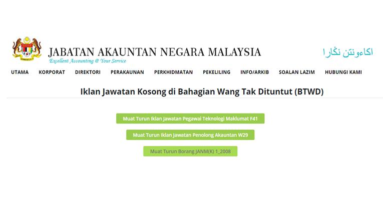 Jawatan Kosong di Jabatan Akauntan Negara Malaysia JANM