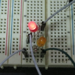 LED circuit on a breadboard