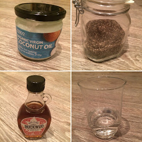 Organic coconut oil, chia seeds, water, Buckwood canadian maple syrup