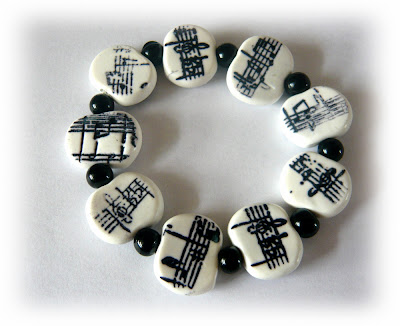 Polymer Clay Bracelet Stamped Inks on Clay