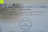 Aufkleber vorne: Beurer LR 300 Luftreiniger mit HEPA Filter für 99,5% Filterleistung, ideal bei Heuschnupfen und zur Allergievorbeugung