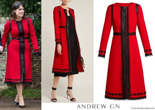 Princess Eugenie wore ANDREW GN Lace-trimmed wool-crepe coat