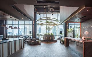 A newly designed hotel lobby