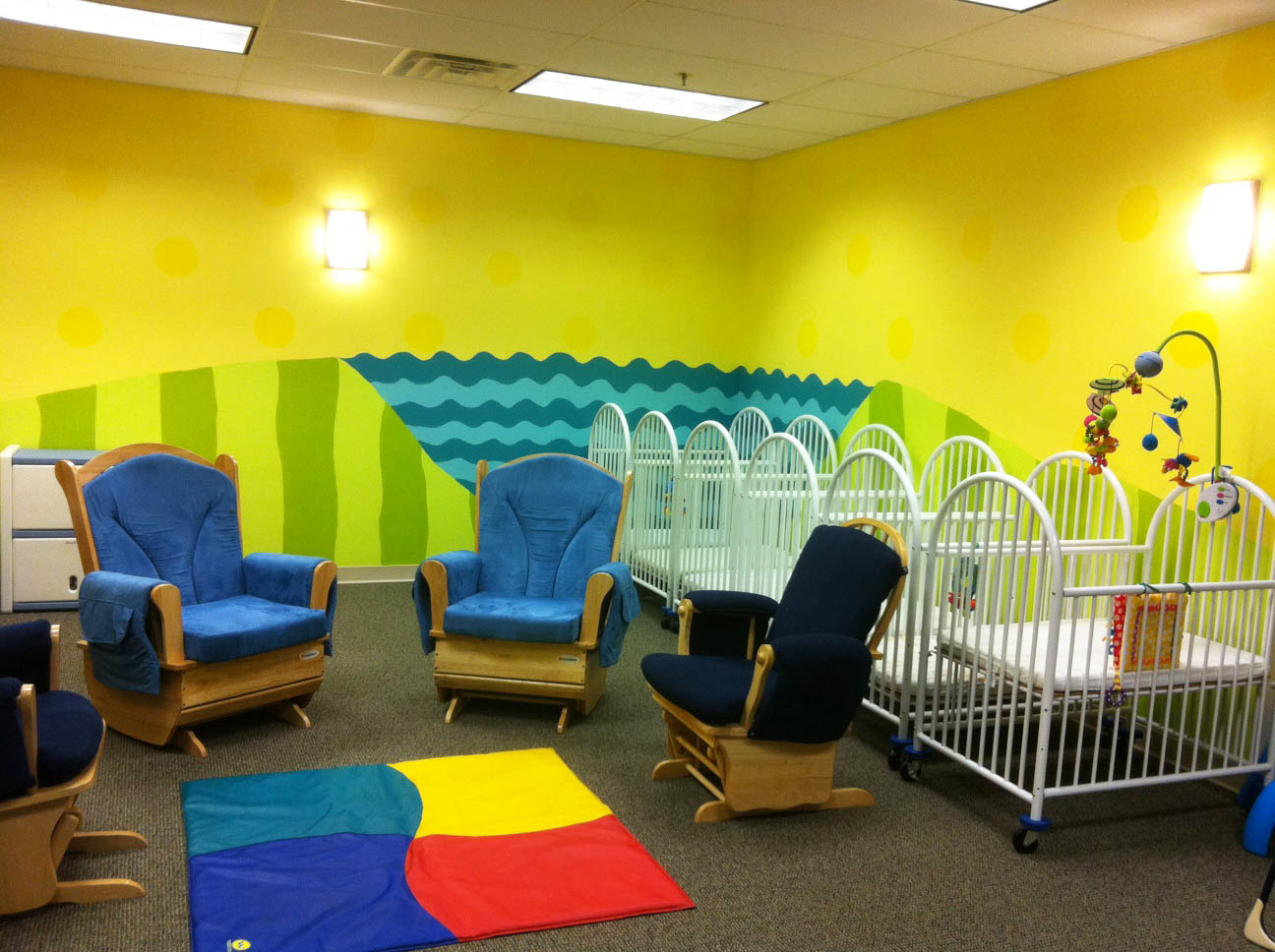 If I Were Painting A Nursery In My Own Home Would Pick Such Bright Colors Probably Not However This Is Busy Church Preschool Area