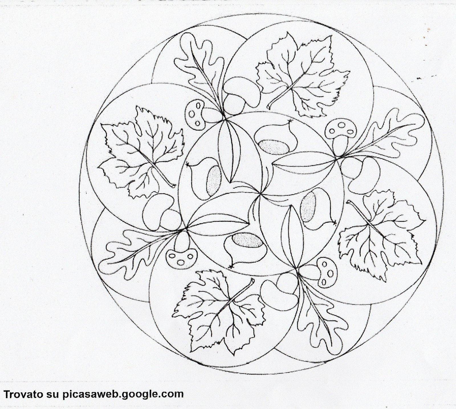 Disegni Da Colorare Tema Autunno.Mandala Da Colorare Autunno
