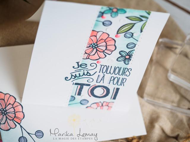 carte en décor avec le jeu Falling flowers Stampin' Up!