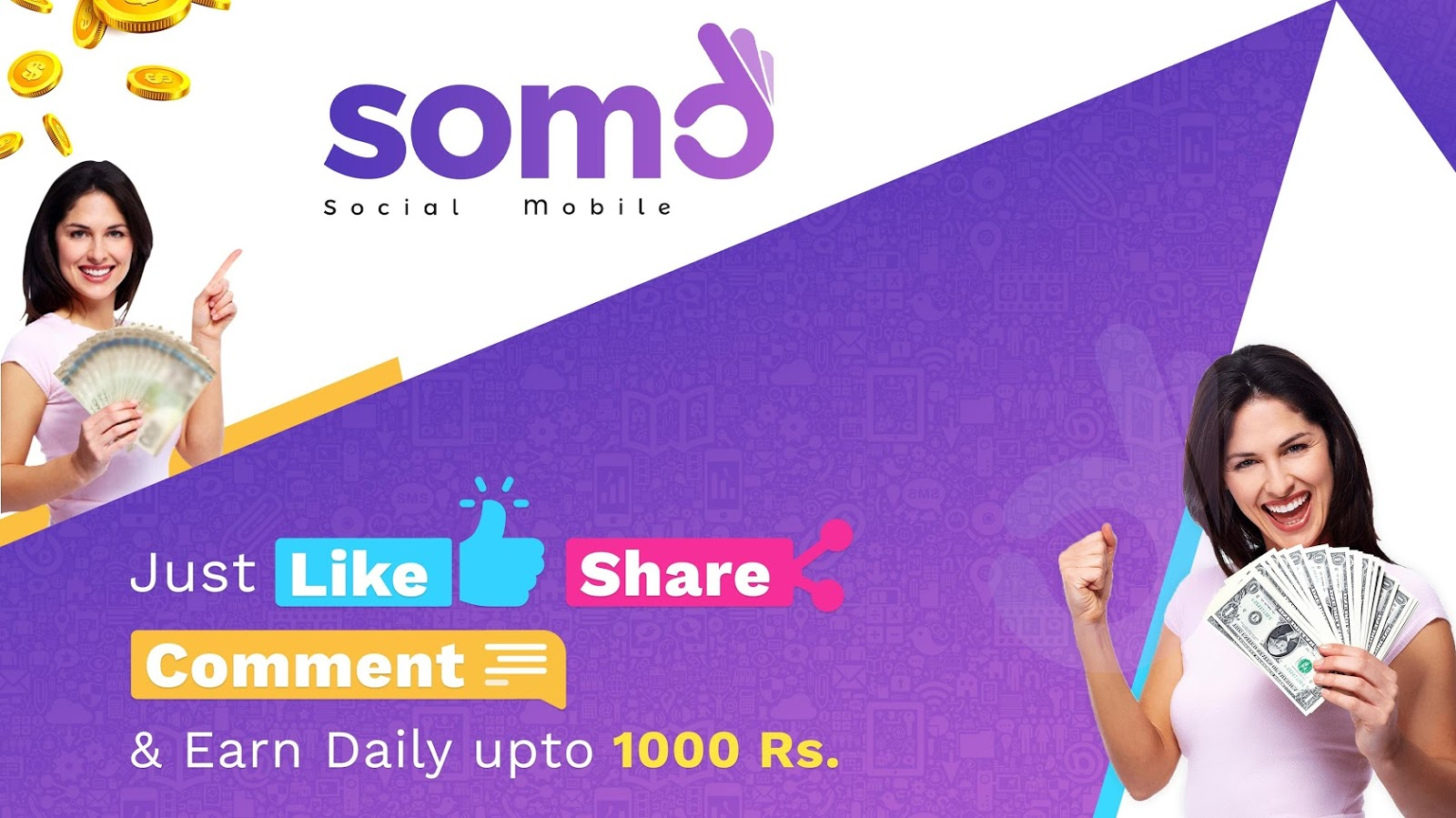 SOMO Social Recharge App Refer and Earn Free Paytm Wallet Cash