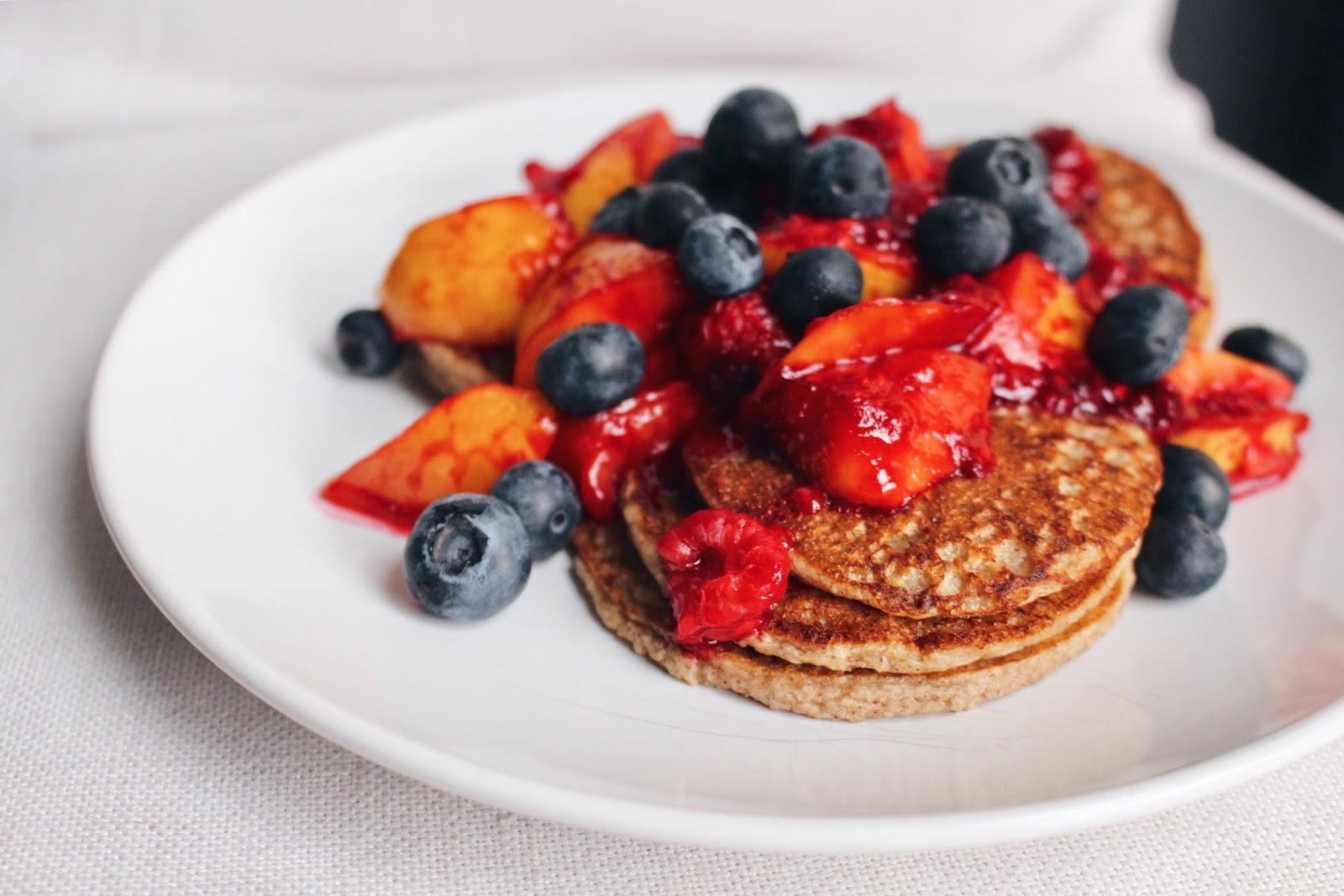 Summer fruit breakfast pancakes