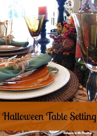 Halloween Table Setting - on the kitchen counter