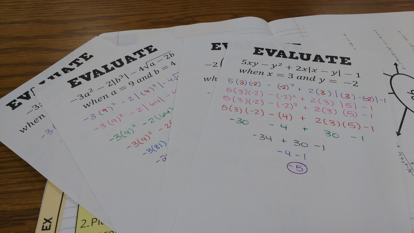 Math Love Evaluating Expressions Interactive Notebook Pages