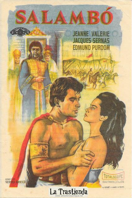 Salambó - Programa de Cine - Jeanne Valérie - Jacques Sernas - Edmund Purdom