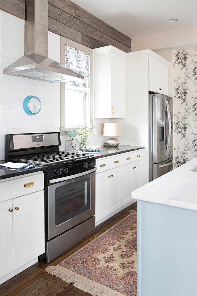 Colorful eclectic kitchen with floral wallpaper - Black and White and Loved All Over blog by Ellen Mallernee Barnes
