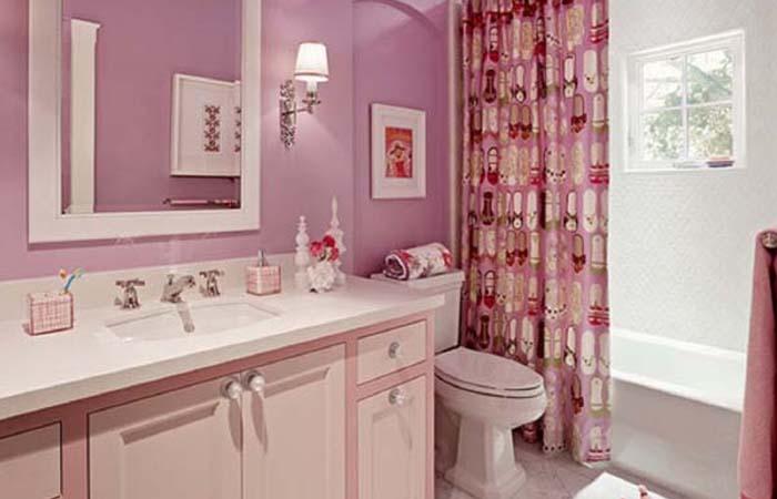 pembe renk banyo dekorasyonu